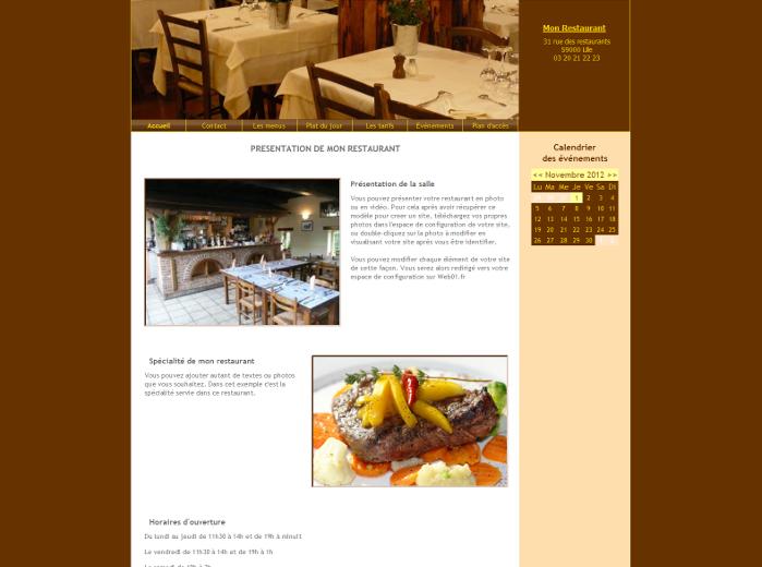 Mod les de sites pour restaurant ou pizzera pour cr er en for Sites web pour concevoir des maisons gratuitement